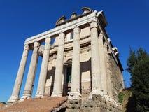 Historic ruins in Rome at the Forum Romanum stock photo
