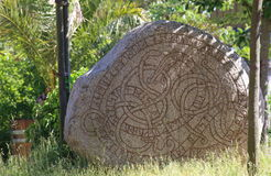 Historic rune stone at the castle in Trelleborg, Sweden Stock Photography