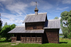 Historic Russian wooden church. Church at the Wooden Building Museum, Novgorod, Russia. The museum preserves the rich history of wooden buildings in Russia stock photography