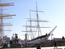 Historic sailing Ship 2. The Wavertree ship 19th century on seaport of New York with buildings in background royalty free stock images