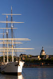 Historic sailing vessel in downtown Stockholm. Copy space Royalty Free Stock Image