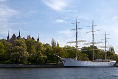 Historic sailing vessel in downtown Stockholm Stock Image