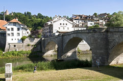 Historic Saint John bridge in Swiss city Fribourg Stock Photos