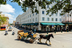 Historic San Antonio. San Antonio, TX USA - April 15, 2016: A classic horse carriage ride in the downtown historic Alamo district royalty free stock photos