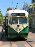 Historic San Francisco Street Car (Green) Front View Stock Photo