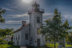 Historic sand point lighthouse in Escanaba, Michigan Stock Photo
