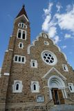 Historic sandstone landmark and Lutheran church in Windhoek, Namibia. Historic sandstone landmark and Lutheran church in vertical composition Windhoek, Namibia royalty free stock image