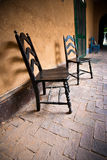 Historic Santa Fe hacienda veranda Stock Photo