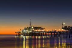 Historic Santa Monica Pier. At Sunset royalty free stock photos