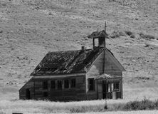 Historic School  B/W. This school has the year 1904 on its bell tower it is known as 8 mile school in northern Oregon Stock Image