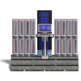 A historic science fiction computer or mainframe. 3D rendering with clipping path and shadow over white Stock Photography