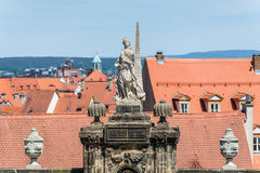 Historic sculpture at the Domplatz in Bamberg. Bavaria, Germany royalty free stock photography