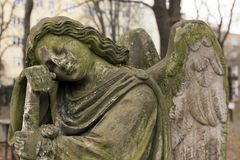Historic Sculpture from the mystery old Prague Cemetery, Czech Republic. Historic Sculpture from mystery old Prague Cemetery, Czech Republic Royalty Free Stock Image