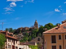 Historic Segovia, Castile and León, Spain. With view to the Segovia cathedral spire and bell tower stock images