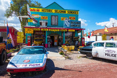 Historic Seligman Sundries. SELIGMAN, AZ - SEPTEMBER 16: Historic shop on Route 66 in Seligman, AZ on September 16, 2015 Stock Photography