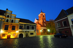The historic sguare in Kaunas at night Royalty Free Stock Photo