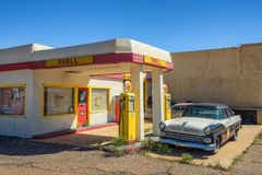 Historic Shell gas station in the abandoned mine town of Lowell, Arizona stock photography