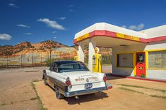 Historic Shell gas station in the abandoned mine town of Lowell, Arizona stock photo