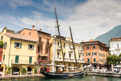 Historic ship in Malcesine Stock Images