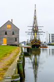 Historic ship named Three-masted Friendship anchored in Salem harbor Royalty Free Stock Photography