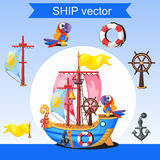 Historic ship, rudder, mast and two parrots. On a light background Royalty Free Stock Photo