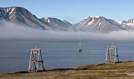 Historic ship in Svalbard fjord Royalty Free Stock Photos