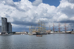 Historic ships in Gdynia port Stock Images