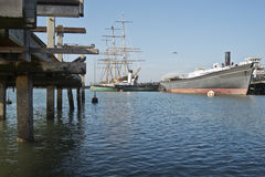 Historic ships in San Francisco Bay Stock Image