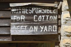 Historic sign at cotton gin Royalty Free Stock Photo