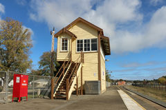 The historic signal box at the Beaufort Railway Station has been refurbished but is no longer operational Stock Photography