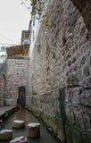 Historic Siloam Pool . Historic Siloam Pool in Jerusalem , Herodian road , Israel stock photos