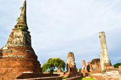 Historic site  in Ayutthaya of thailand Royalty Free Stock Photo