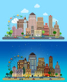 Historic skyscrapers in flat vector day and night city set Stock Photo