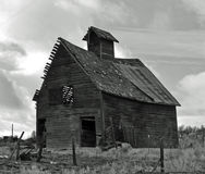Historic Small Barn B/W. This is, I thought a very cool old barn Stock Photography