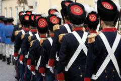 Historic soldiers. Soldiers in historic uniforms marching through Croatian city of Varazdin stock image