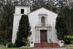 The Façade of the Presidio Chapel in San Francisco California. An historic Spanish Colonial Revival style chapel, built by the Army in 1931, with a stock images
