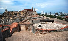 The historic Spanish Fortress in Cartagena Stock Images