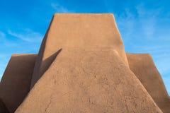 Historic Spanish mission adobe church in Taos, New Mexico stock photos