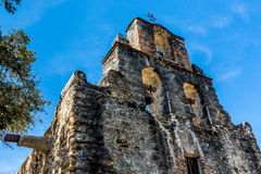 The Historic Spanish Mission Espada, Texas. The Bell Tower of the Rustic and Historic Old West Spanish Mission Espada, established in 1690, San Antonio, Texas royalty free stock images