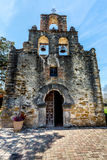 The Historic Spanish Mission Espada, Texas. The Rustic and Historic Bell Tower and Chapel of the Old West Spanish Mission Espada, established in 1690, San Stock Photo