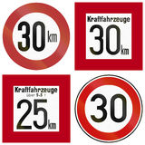 Historic Speed Limit Signs In Germany Royalty Free Stock Photos