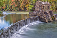 Historic Speedwell Lake and Falls during the fall colors Stock Photos