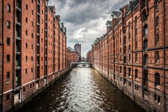 Historic Speicherstadt with dark clouds in Hamburg, Germany Royalty Free Stock Photography