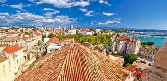 Historic Split rooftops panoramic view Stock Photos