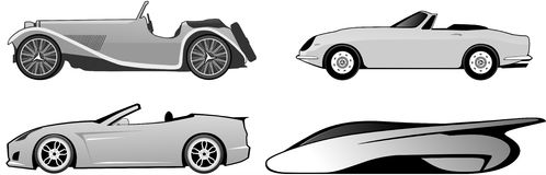 Historic sports car parade. An illustration about the evolution of roadster car Stock Photos