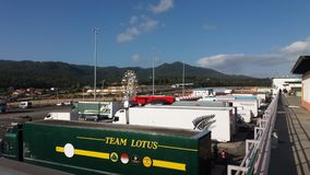 Team Lotus Truck at Historic Sports Car Race. Historic Sports Car Race at Estoril Royalty Free Stock Photos