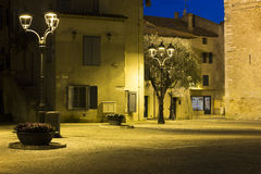 Historic square in Grado. Historic square enlightened by street lights in Grado Italy Royalty Free Stock Photos
