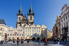 Historic square in the Old Town quarter of Prague Stock Photos