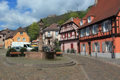 Historic square in Ribeauville Royalty Free Stock Photography