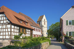The historic Städtle with old half-timbered houses and the chur Royalty Free Stock Photography